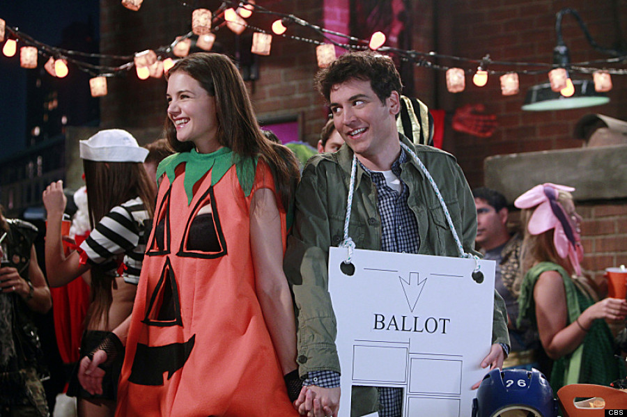 """The Slutty Pumpkin Returns"" -- Ted (Josh Radnor) and Naomi (Katie Holmes) revisit the rooftop Halloween party where they first met on HOW I MET YOUR MOTHER, Monday, Oct. 31 (8:00 - 8:30 PM, ET/PT) on the CBS Television Network. Photo: Monty Brinton/CBS �© 2011 CBS Broadcasting, Inc. All Rights Reserved."