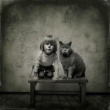 O amor entre uma menina e seu gato