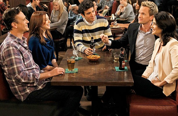 """""""Who Wants To Be A Godparent"""" — When Lily and Marshall can't decide on godparents for Marvin, they put the gang to the test to see who would make the best one, on HOW I MET YOUR MOTHER, Monday, Oct. 15 (8:00-8:30 PM, ET/PT) on the CBS Television Network. Pictured left to right: Jason Segel, Alyson Hannigan, Josh Radnor, Neil Patrick Harris and Cobie Smulders  Photo: Cliff Lipson/CBS  ©2012 CBS Broadcasting, Inc. All Rights Reserved."""